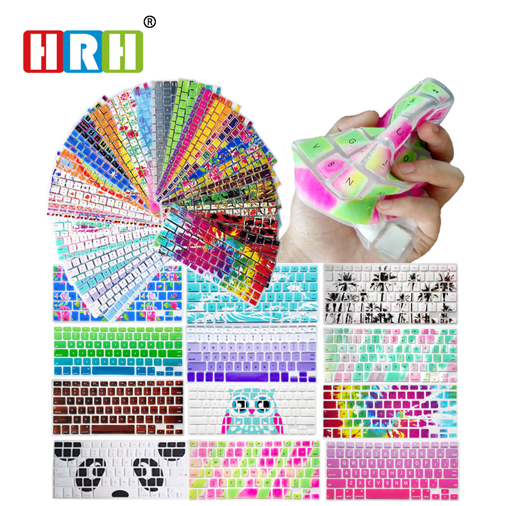HRH Decal Animal Rainbow Silicone US Keyboard Cover Keypad Skin Protector For Old Macbook Pro 13
