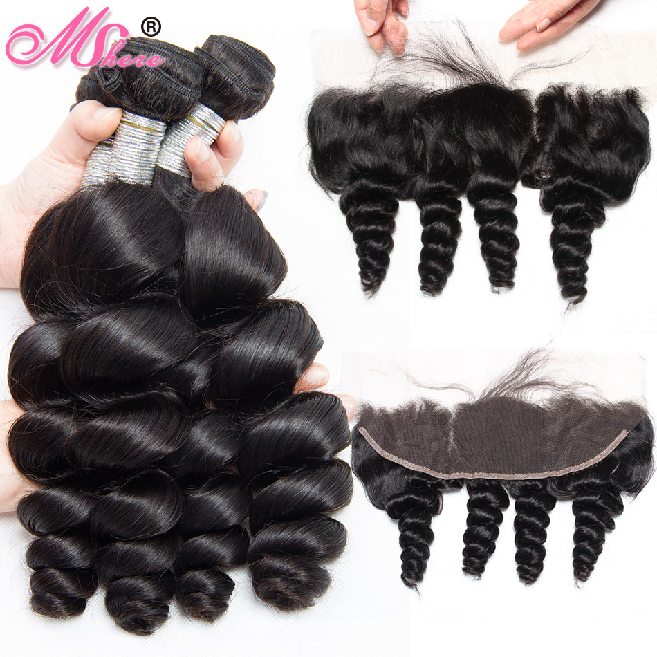 Human Hair Bundles With Closure Loose Wave Ear to Ear Lace Frontal Closure With Bundles Peruvian