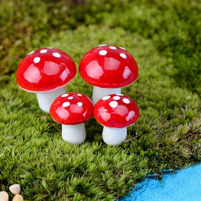 10 pcs/ensemble Mini Champignon Modèles Mignon Miniatures Rouge ...