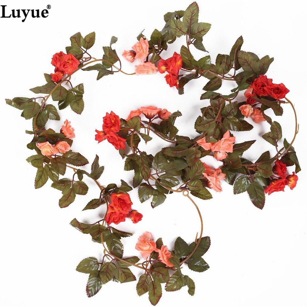 Luyue 738ft 2pcs Artificial Silk Rose Flower Rattan Ivy Vine Leaf