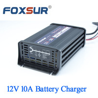 FOXSUR 12V 10A Car battery charger 7 stage smart Lead Acid Battery Charger Aluminum pulse charger 180 260V in