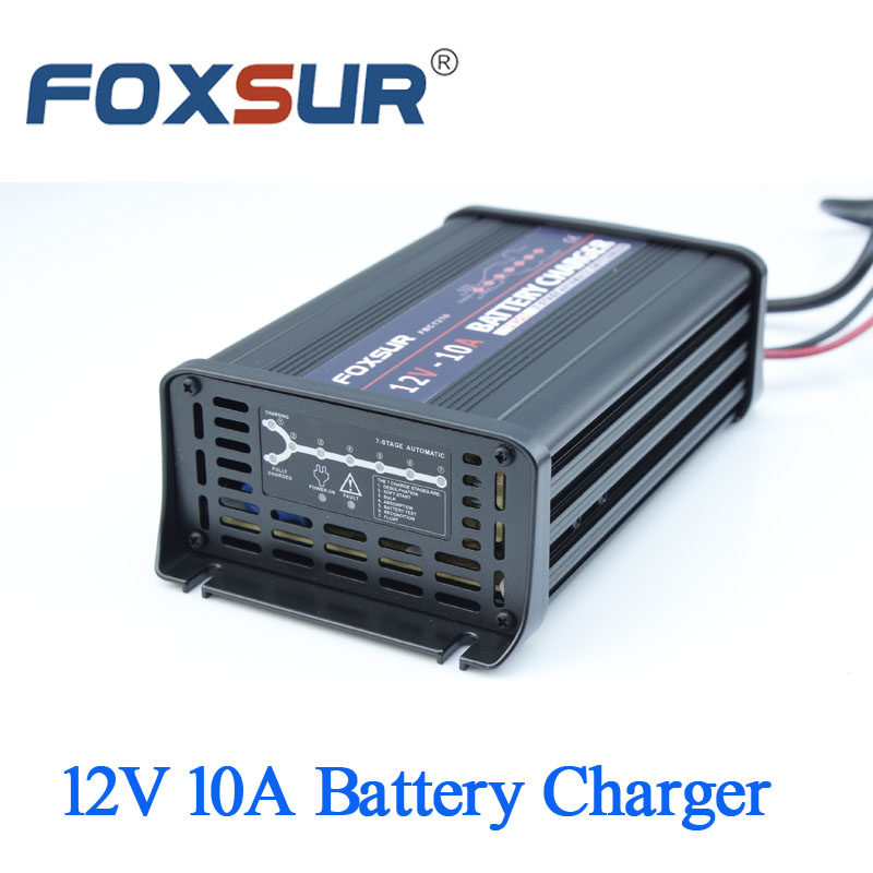 FOXSUR 12V 10A Car battery charger 7-stage smart Lead Acid Battery Charger Aluminum pulse charger 180-260V in