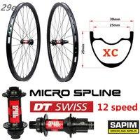 29er углеродный обод MTB 345g с DT Swiss 240 12 скоростной концентратор для XC набор колес для горного велосипеда бескамерная готовая супер легкое прижи