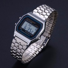 Classic Men Women LED Digital Stainless Steel Stopwatch Wrist Watch Silve New Fashion Casual Watches Bracelets Excellent Quality