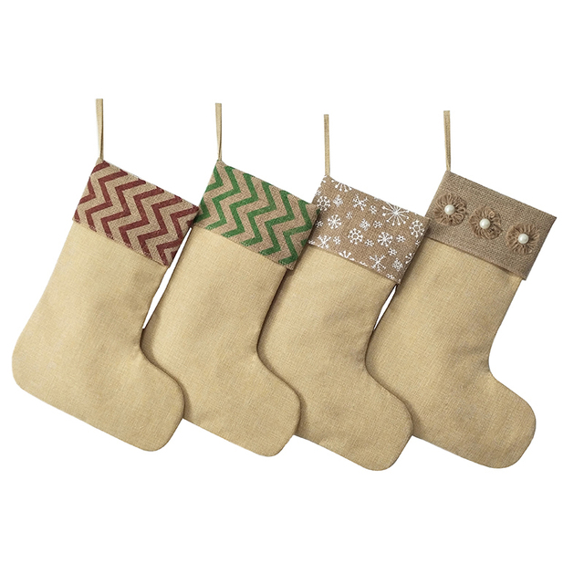 wholesale 100pcslot burlap christmas stocking redgreen striped christmas stocking snowflakespearls - Burlap Christmas Decorations Wholesale