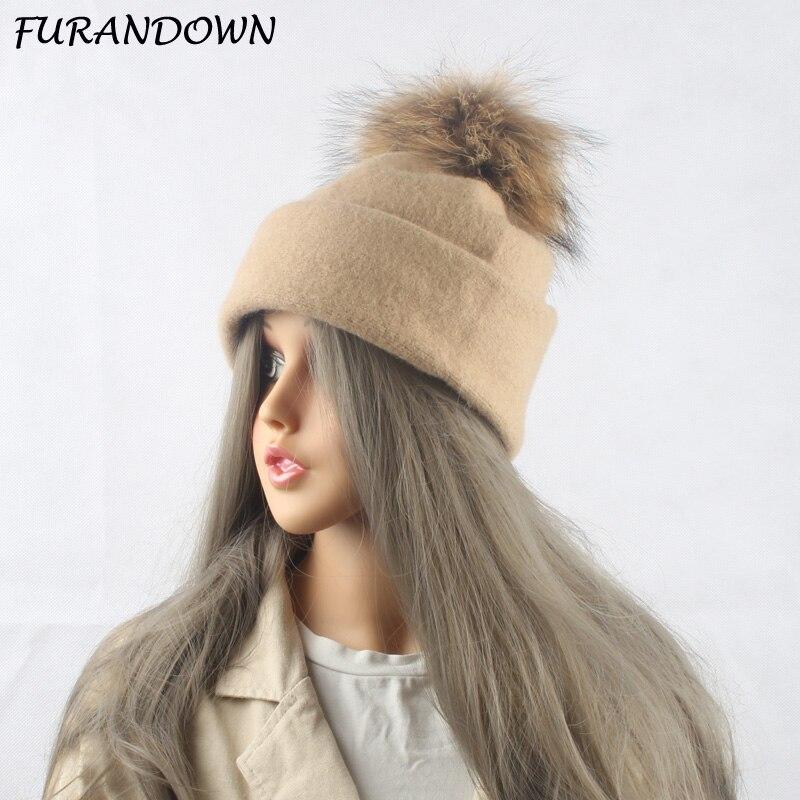 2018 Nové 100% vlněné pletené čepice Zimní čepice pro ženy - Příslušenství pro oděvy