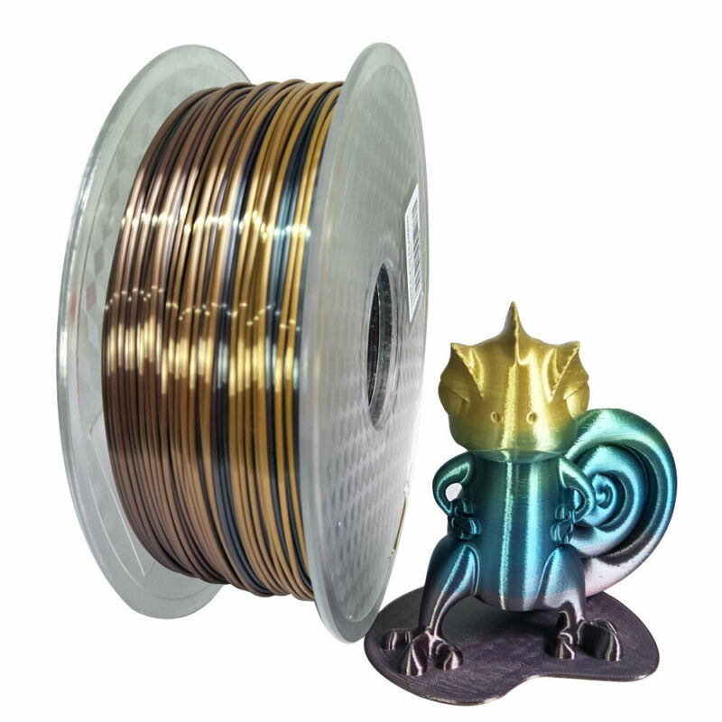 Shina Silk PLA Filament Rainbow Like Multicolor 1.75mm 1kg Printing Materials Gradually Changing Color Spool For 3D Printer Pens