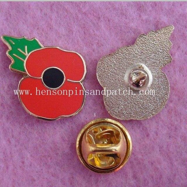 US $135 0 |Customized 18mm~55mm poppy trading pins imitation hard enamel  poppy pin badge glitter lapel pins-in Badges from Home & Garden on