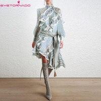 Women Asymmetry ruffled party shirt dress summer lantern sleeve Long casual striped print work club fashion beach boho dresses