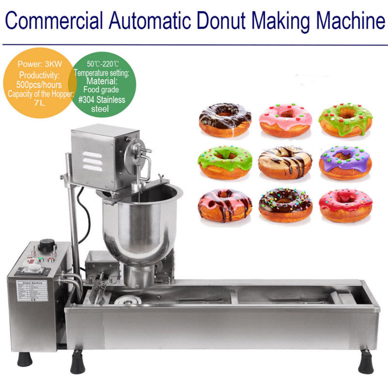 (Корабль из Великобритании) коммерческие автоматического пончик Maker МАШИНА широкий масляный бак 3 комплекта бесплатная плесень 220 В