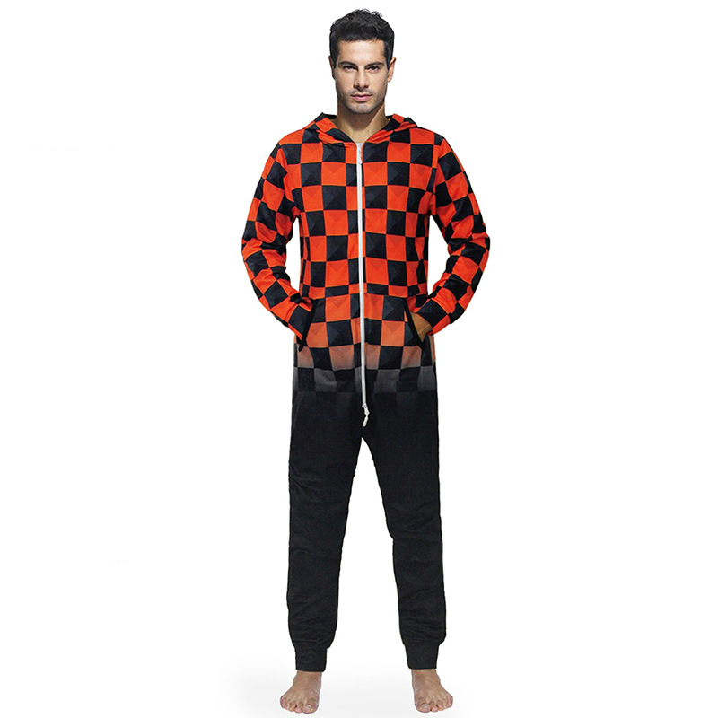 dbee586b23 New Arrival Pajamas Men Onesies Male Jumpsuits Casual Hooded Zipper Pocket  Red And Black Plaid 3d
