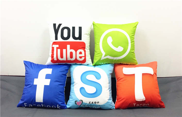 8 Styles Youtube Facebook Tango Cushion Covers Social Software Logo Candy Color Soft Pillow Cases 40x40cm Baby Favor