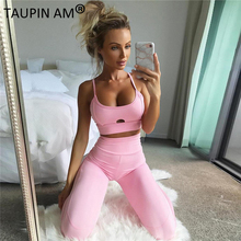 TAUPIN AM Pink Women Sleeveless Sportswear Set Sweatshirt Tracksuit Fitness Women's set Sporting Suit Leggings 2 Piece Set