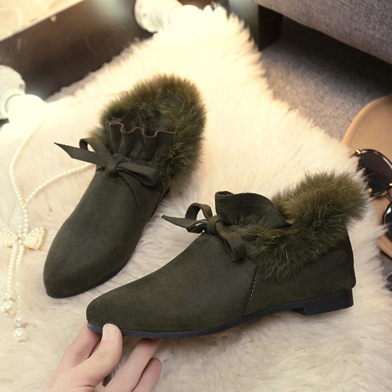 COOTELILI  Women Boots Winter Autumn Ankle Boots For Women Boots Slip On Real Fur Rubber Flat Boots Ladies Women Shoes 35-.39 (8)