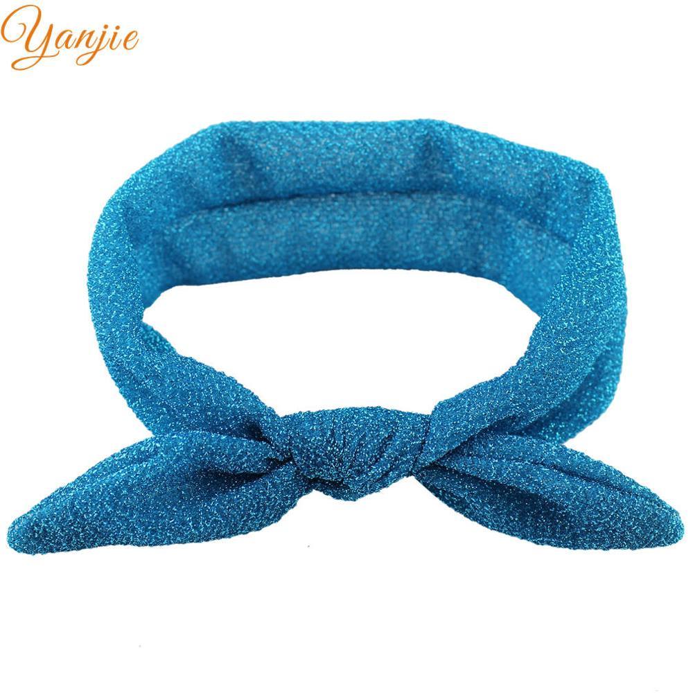 10 шт./лот, Блестящий металлический верх, повязка для волос с бантиком и заячьими ушками для девочек, вязаные головные повязки из Джерси, золотые/серебряные повязки на голову - Цвет: blue