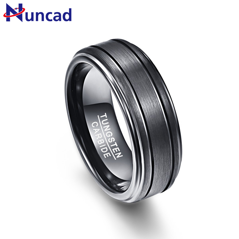 Sale!!! 2019 black color brushed finish two grooves 8mm width 100% genuine wedding band elegance tungsten carbide rings for men(China)