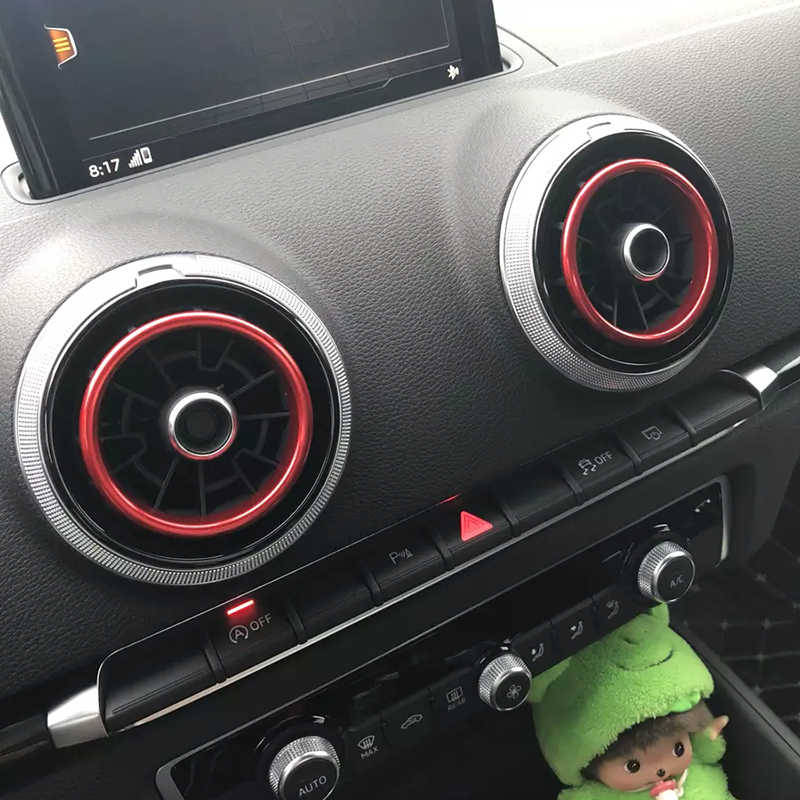 סגסוגת אלומיניום הכרום לשקע אוויר טבעת לקצץ רכב לוח מחוונים/C אוויר פתחי אוורור כיסוי קישוט המדבקה לאאודי A3 S3 2013-2016 Q2 2017