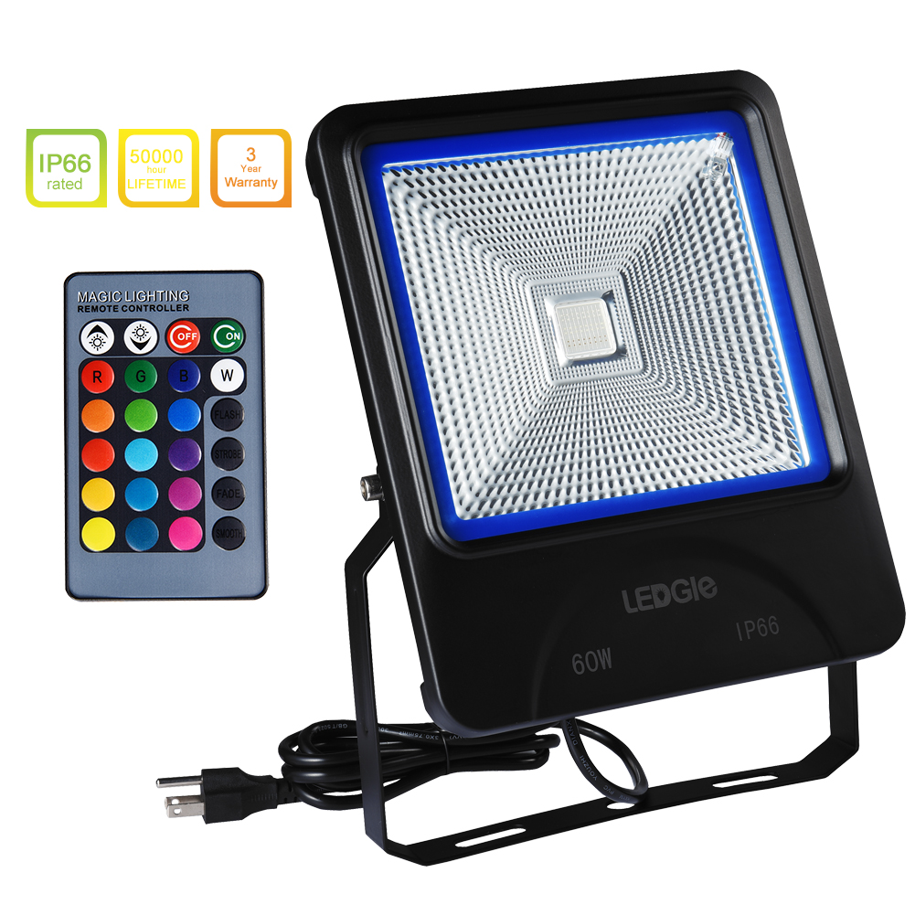 LEDGLE 60W LED Flood Lights RGB Floodlight Waterproof Outdoor Lights with Remote Control COB LED Chip 16 Colors 4 Lighting Modes