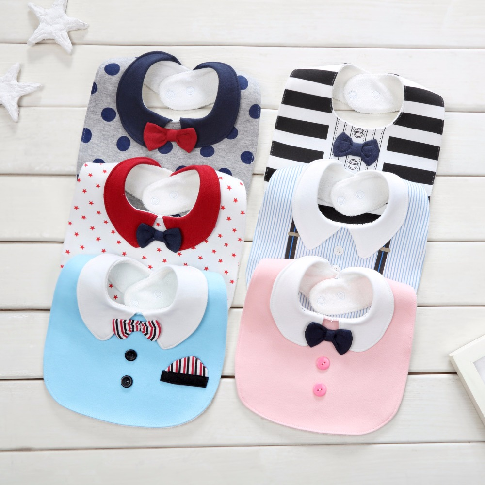 ideacherry Baby Saliva Towel Childrens bibs Cute Bowknot Striped Dot Newborn Baby Bibs Cotton Waterproof Bandana Baberos Bibs
