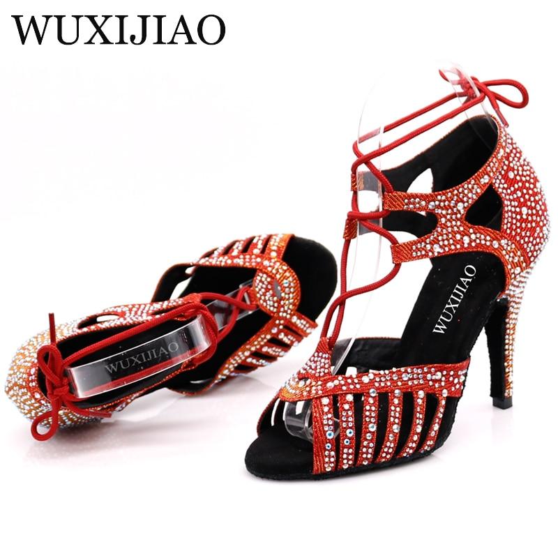 Image 3 - WUXIJIAONew Red and Glod Flash Cloth Salsa Dance Shoes Soft Bottom Latin Kizomba Tango Ballroom Dance Shoes Heel 6/7.5/8.5/10cm-in Dance shoes from Sports & Entertainment