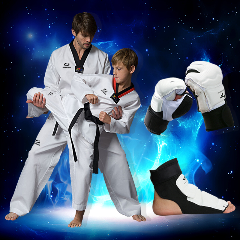 2016 Child Kids Cotton Dobok Taekwondo Uniform Long Sleeve kungfu Clothes WTF Approved dobok TKD Hand <font><b>gloves</b></font> Foot protector new