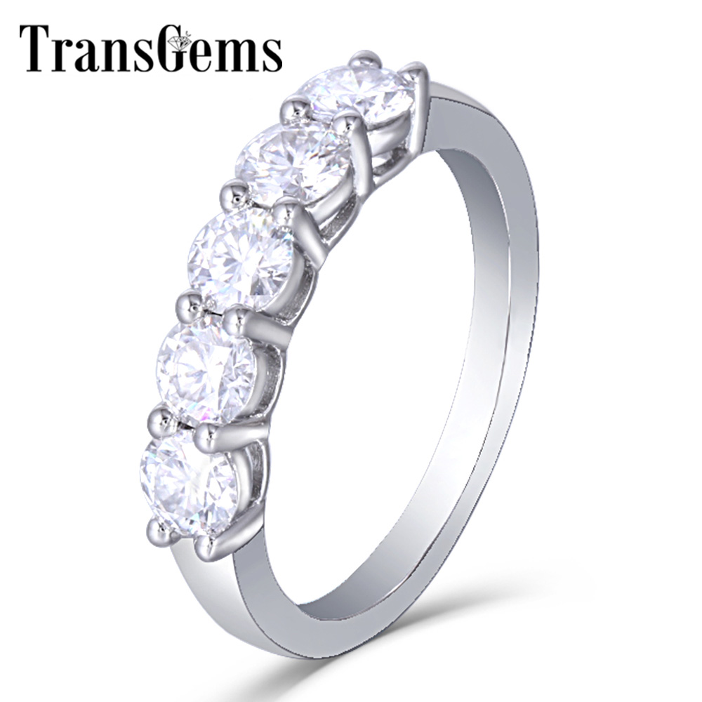TransGems Platinum Plated Sterling Silver 1 25CTW 4MM GH Color Moissanite Half Eternity Wedding Band for