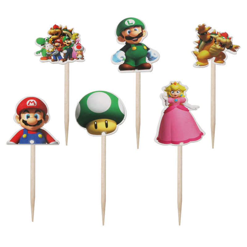 24pcs/lot Super Mario Theme Cake Topper Cake Flag Party Decoration Cupcake Toppers Treat Kids Birthday Baby Shower Boy