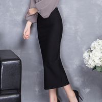 Skirts Women 2017 Autumn Winter High Waist Mid-Caf Tight Skirt Black Elegant Womens Office Bodycon Pencil Skirts XY3039