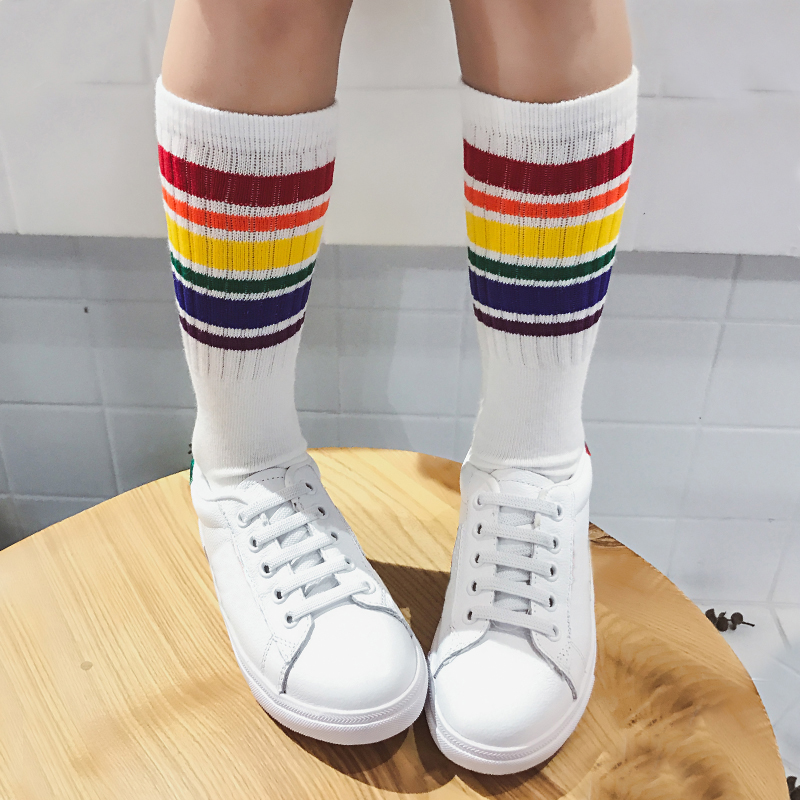 Child Boy Football Socks Striped Colored Rainbow Knee Socks Cotton School White Long Sock For Kids Girls Baby Boy Children 1-10T