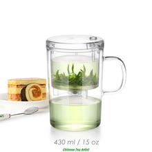Mundgeblasenem Hitzebeständige Tee Tassen mit Deckel und Infuser 430 ml, Reise Tee-Set, Bequem Tee Filter