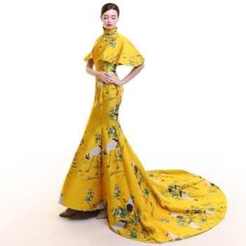 Yellow Stain Vintage Cheongsam Long Modern Chinese Traditional Dress Women Qipao Wedding Robe Chinoise Vestido Oriental Evening
