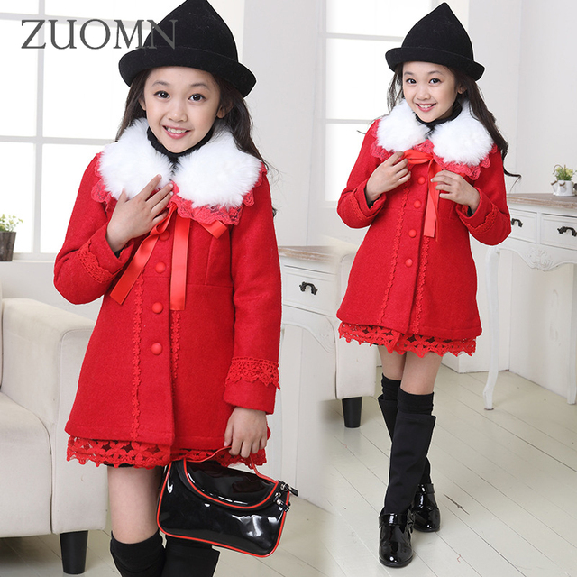 2016 Winter Kids Jackets Christmas Costumes for Girls Children's Clothes Wool Fur Coat Red Outerwear Red Coats Bow Clothes G209