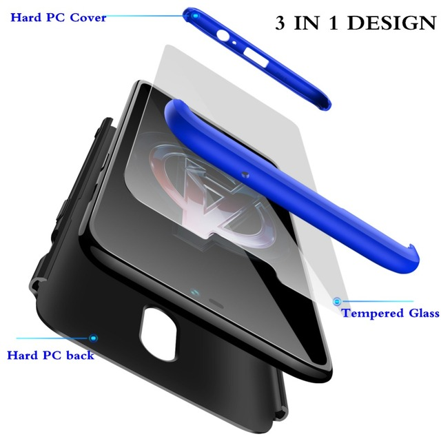 GKK Case for Oneplus 6 Case 360 Full Protection Shockproof Matte Comfortable Feel Hard PC 3 In 1 for oneplus6 Cover Free Glass 1