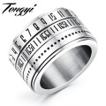 Unique Rotatable Numeral Rings For Men Fashion Jewelry 14mm Stainless Steel Biker Ring US Size 7-12, TY511