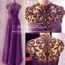 Stunning Purple Prom Dresses 2017 Real Photos High Neck Short Cap Sleeve Pleated Chiffon Heavy Rhinestone
