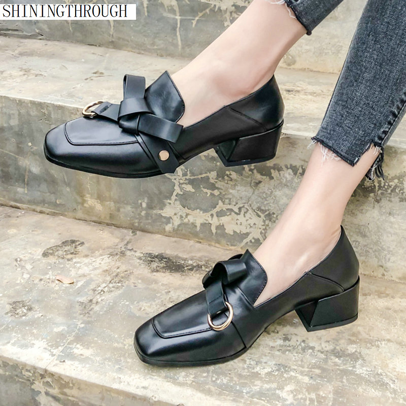 Genuine leather Office Lady Spring woman pumps 33 43 large size punk Style 4 5cm med