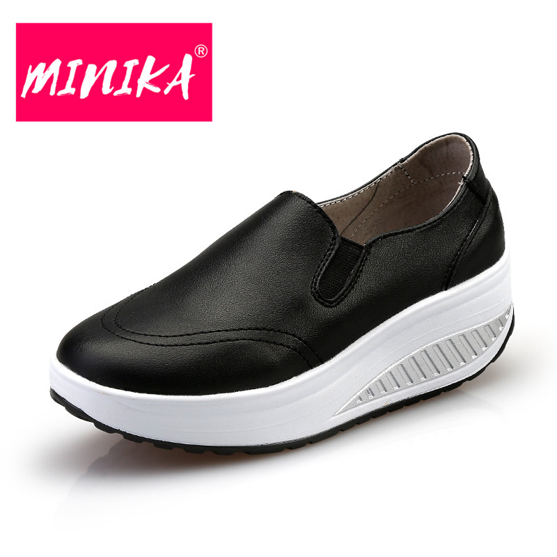 MINIKA New Brand Leather Shoes Women Comfortable Slip on Shallow Flat Shoes Women High Quality Pu Upper Platform Shoes Women minika breathable mesh lace shoes women thick bottom shallow mouth women casual shoes slip on flat shoes women high quality