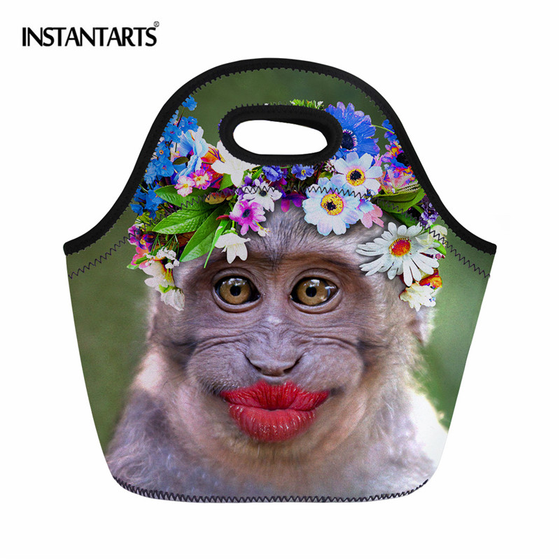 Instantarts Red Lip Monkey Pattern Hiking Camping Picnic Bags Waterproof Neoprene Food Storage Bags Lunch Tote Handbag For Women Beautiful In Colour Sports & Entertainment Campcookingsupplies