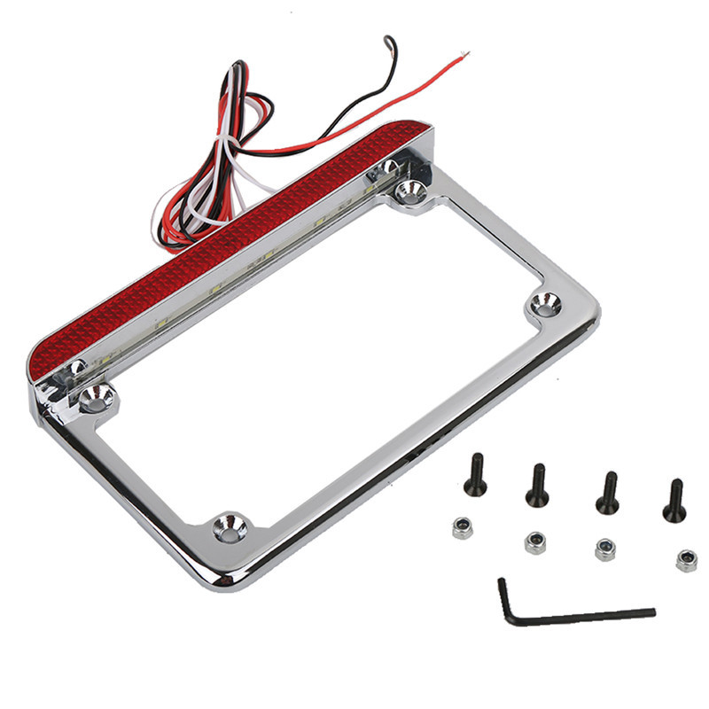Billet Aluminum 12V Motorcycle 4 X 7 Number Tail Light LED License Plate Frame for Harley Honda Suzuki Yamaha Kawasaki /5