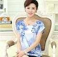 L Xl, Xxl, 3xl, 4XL 2016 nova plus size mulheres t-shirt flor do verão mulher impressão manga batwing top casual túnica rosa, Vermelho, Azul, Branco