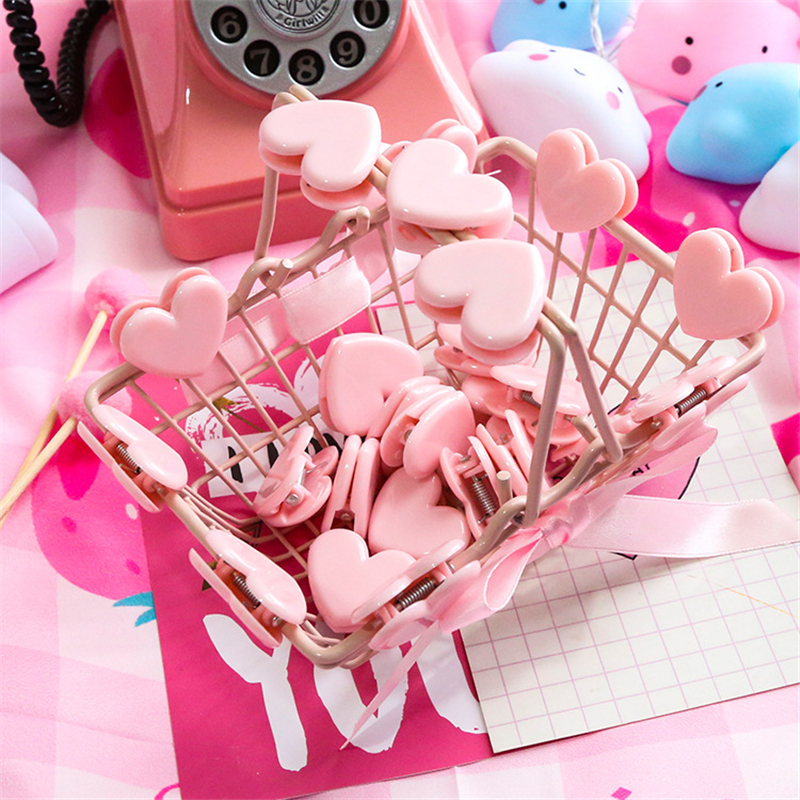1 Pcs Pink Love Heart Planner Paper Notes Letter Clip Multifunction Plastic Bookmarks Kawaii Cute Stationery Store Office