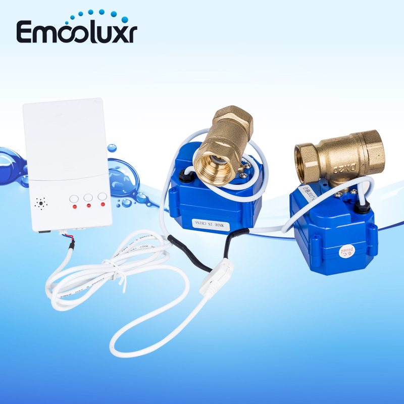 Fuite d'eau Système WLD-807 avec 2 pcs Sensibles Capteurs D'eau et 2 pc Solide En Laiton Valve DN15 pour Tuyau D'eau pour La Maison Système de Sécurité