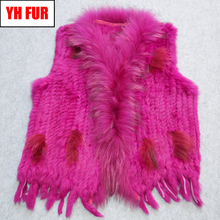 Women Party Real Rabbit Fur Vest Handmade Knitted Tassels 100 Real Genuine Rabbit Fur Gilet Real Raccoon Fur Collar Waistcoat cheap Raccoon Dog Fur Double-faced Fur Real Fur YH-FUR-42917 STANDARD REGULAR With Raccoon Dog Fur Collar Sleeveless Covered Button