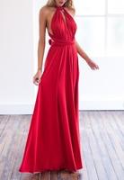 Luxury Long Party Dresses 2017 Women Red Bandage Wrap Dress Elegant Bridesmaid Floor Length Maxi Dress