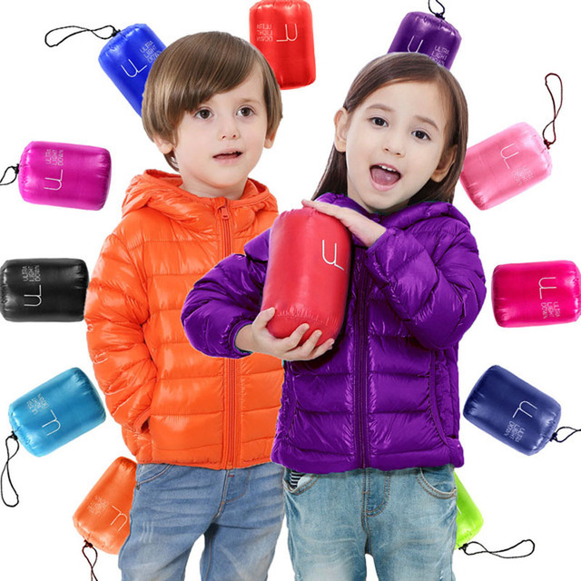 Cheap 70-150cm Portable Children Jackets Outerwear For Boy Girl Autumn Warm Down Hooded Coat Parka Kids Winter Jacket Candy Colors
