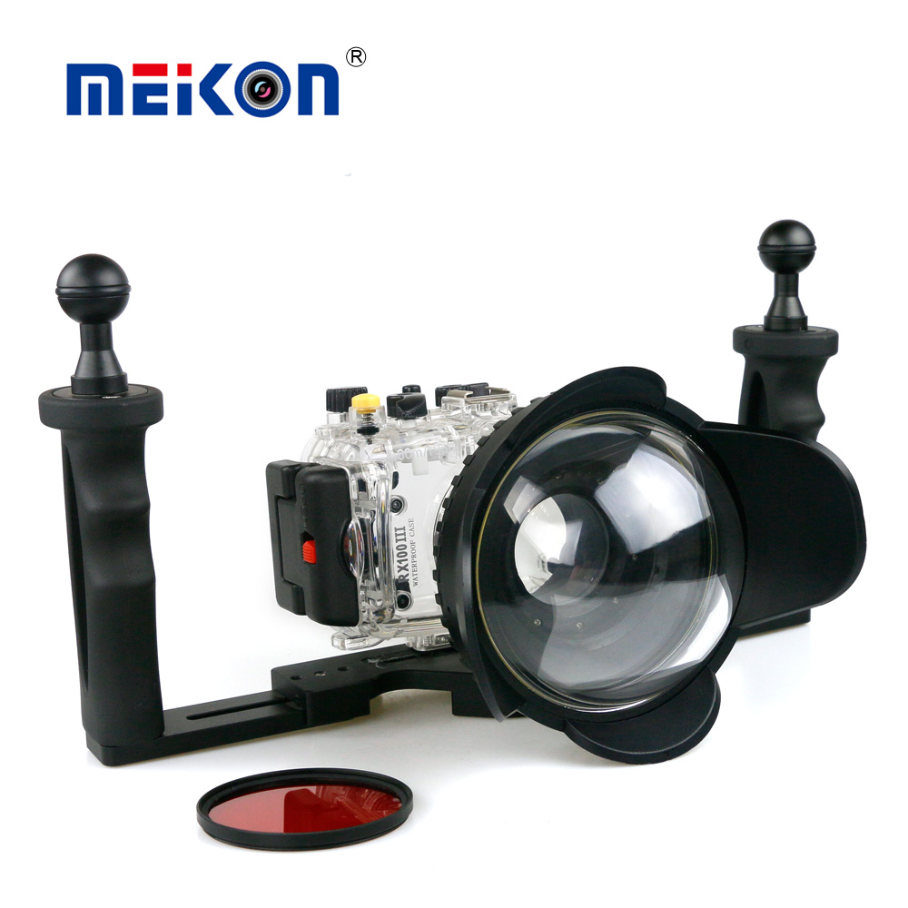 40m/130f Waterproof Underwater Housing Case For Sony RX100 III + 67mm Red Filter + 67mm Fisheye Lens + Two Hands Aluminium Tray meikon 40m 130ft underwater camera waterproof housing case for canon g7x 67mm round dome port fisheye two hands housing tray