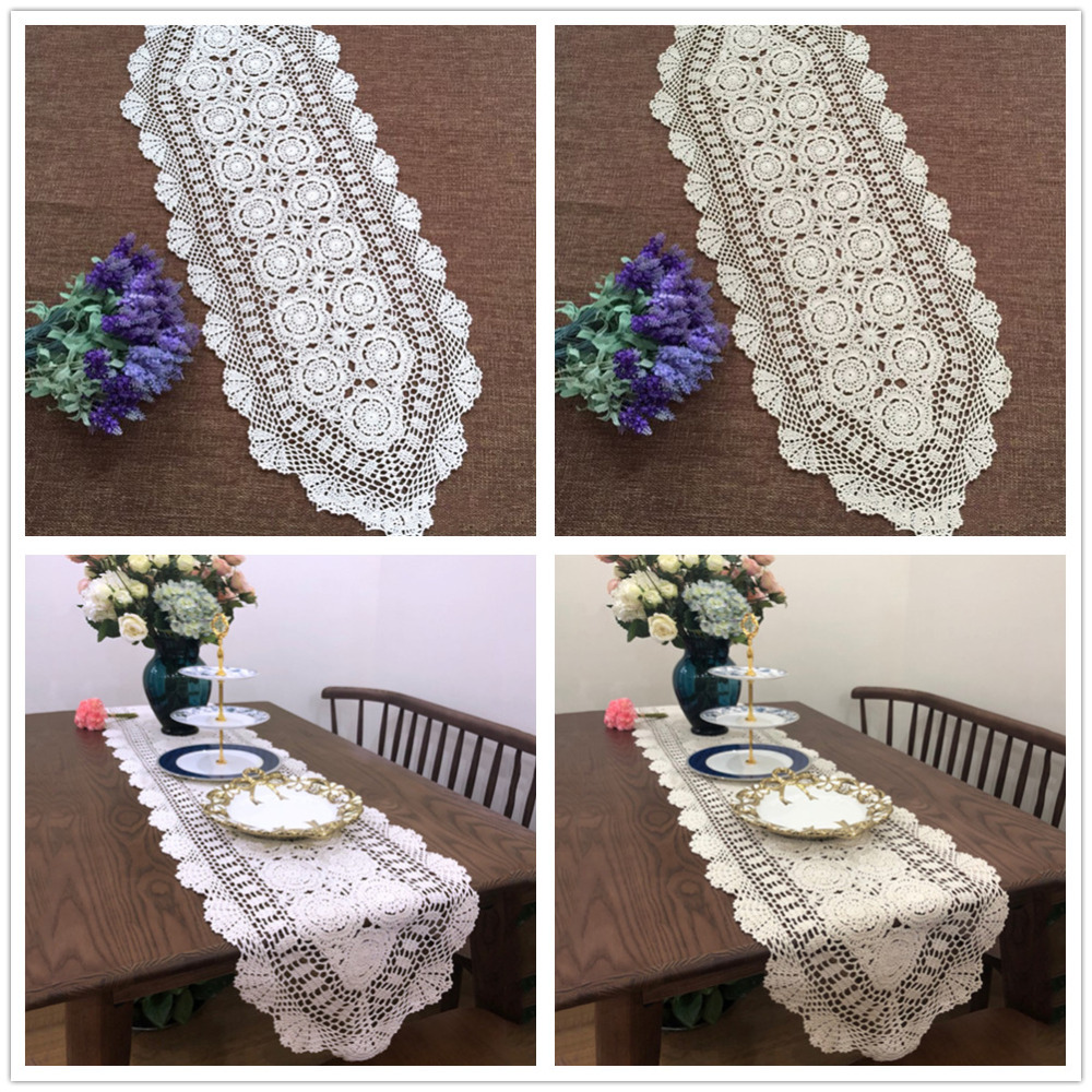 Rainqueen Vintage Lace White Beige Table Runner Flag Cover Cotton Crochet Floral Placemat Tablecloth Wedding Party Decoration