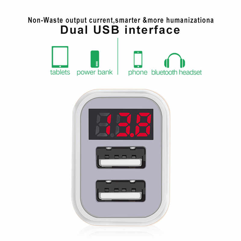 USB Car-Charger with LED Screen Smart Auto Car Charger Adapter Charging for iPhone 6 7 8 Samsung Xiaomi Car Mobile Phone charger