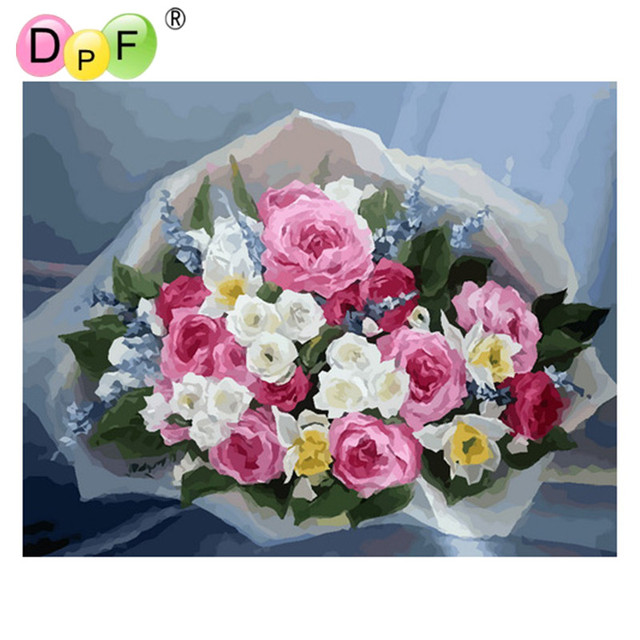 DPF Oil Painting fresh flower Diy Digital Painting By Numbers ...