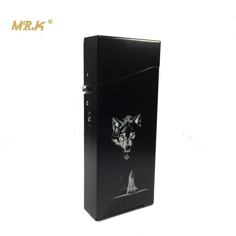 MRK M101 100mm's Long Slim Cigarettes Case Aluminium Alloy Laser Engraving Black Wolf King Metal Cigarette Box Smoking Boxes